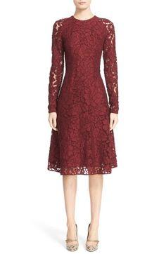 Oscar de la Renta Corded Rose Lace A-Line Dress available at #Nordstrom