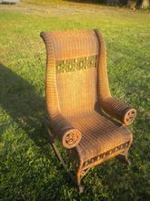 Very Rare Antique Natural Gentleman's Wicker Rocker Circa 1880's