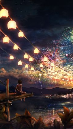 Scenery wallpaper, fireworks wallpaper, iphone 6 plus wallpaper, cool wallpaper, chinese wallpaper Cute Anime Wallpaper, Scenery Wallpaper, Nature Wallpaper, Manga Anime, Anime Art, Anime Night, Dark Anime Girl, Iphone 6 Plus Wallpaper, Fireworks Wallpaper Iphone