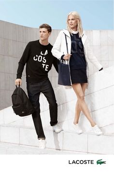 Aymeline and George make a good looking pair in Lacoste spring 2016 campaign