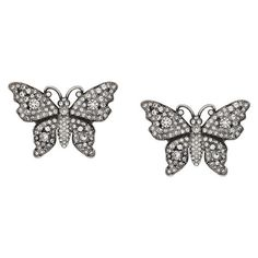 Gucci Crystal studded butterfly earrings (2,285 SAR) ❤ liked on Polyvore featuring jewelry, earrings, metallic, druzy stud earrings, druzy earrings, wing earrings, stud earrings and crystal stud earrings