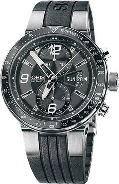 Oris Men's OR679-7614-4164RS Williams F1 Team Chronograph Watch - Stainless steel case with a black rubber strap. Unidirectional rotating black ion-plated bezel with tachymeter. Black dial with luminous hands and Arabic numeral and stick hour markers. Minute markers around the outer rim. Luminescent hands and markers. Date display at the 3 o'clock positions. Automatic movement. Scratch resistant sapphire crystal. Screw down crown. Skeleton case ...