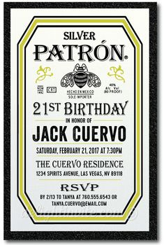 Patron Tequila 21st Birthday Invitations [DI-497] : Custom Invitations and Announcements for all Occasions, by Delight Invite