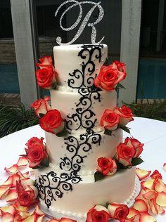 White & Black Wedding cake---instead of red flowers put black