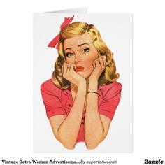Menina retro 'Whatever da propaganda das mulheres  Cartão Comemorativo