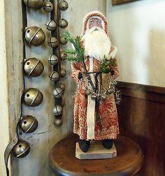 Primitive Old German Style Red Santa Claus~tree~bells