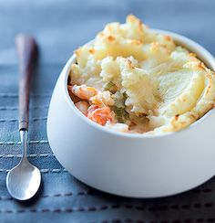 Haddock and prawn pie. This is a really simple and adorable little recipe that can be made in individual bowls.