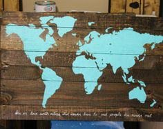 Rustic world map poster large map of the world turquoise map on this listing is for a repurposed pallet wood travel map the canvas is composed entirely of reclaimed pallet wood the slats are then stained gumiabroncs Images