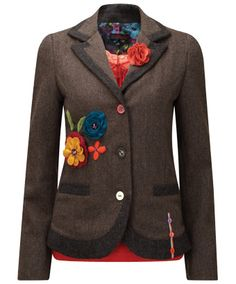 Love, want, need!!!  Amazing Applique Jacket - Inspired by a recent trip to the vintage markets in New York. This jacket has appliqued flowers and a detachable corsage (not to mention the funky lining) which sets it apart from all other jackets you may come across this autumn - a really special piece. £59.95