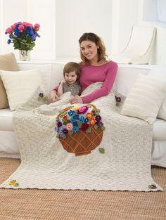Image of <font color=red>Flower</font> <font color=red>Basket</font> <font color=red>Afghan</font> Red Basket, Flower Basket, Knitted Afghans, Knitted Blankets, Afghan Crochet Patterns, Knitting Patterns, Crocheting Patterns, Knitting Ideas, Free Knitting