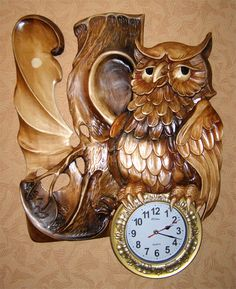 Large Vintage Wall Clocks, Large Clock, Chip Carving, Wood Carving, Owl Clock, Classic Clocks, Wall Clock Online, Intarsia Woodworking, Mirror Painting