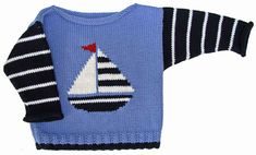 10 Besten Ravelry: Sailboat Boat Neck pattern by Gail Pfeifle, Roo Designs , Baby Boy Knitting Patterns, Baby Cardigan Knitting Pattern, Knitting For Kids, Crochet For Kids, Knitting Designs, Crochet Baby, Cardigan Bebe, Pull Bebe, Toddler Sweater