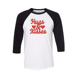 Hugs Kisses Valentine Raglan Shirt
