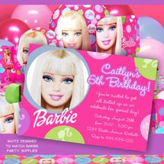Barbie Invitation for Birthday Party - DIY Print Your Own Invite - Printable Digital File