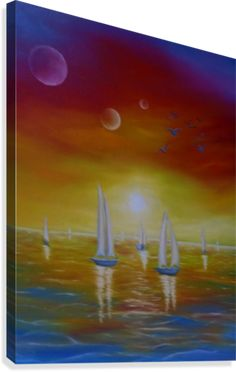 Painting,  sailboat, nautical,marine,ocean,scene,colorful,decor,decorative,beautiful,images,contemporary,modern,wall art,awesome,cool,artwork,for sale,home,office,decor,fine art,oil painting, sea,water,whimsical, sunset, fantasy, surreal, sky, planets, seascape,items,ideas, pictorem
