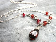 Garnet Necklace Sterling Silver Timeless Jewelry by AeridesDesigns, $78.00
