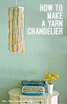 How to Make a Yarn and Embroidery Hoop Chandelier from Dear Handmade Life Yarn Chandelier, Yarn Display, Yarn Organization, Simple Embroidery, Embroidery Hoops, Yarn Wall Hanging, Cloth Flowers, Easy Diy Gifts, Yarn Shop