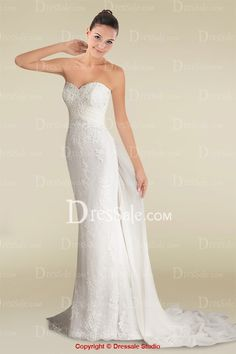 Lustrous Sheath Watteau Train Wedding Dress with Graceful Appliques and Buttons