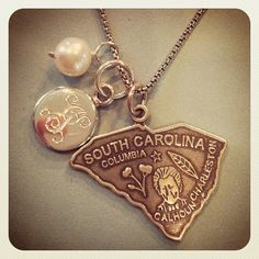 Swell State Sterling Silver Charm Necklace {Available in all 50 States} $66  SwellCaroline.com