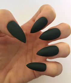 Set of 20 Handmade Dark Green Matte Press On Stiletto Nails Claws  | eBay
