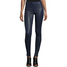 Elizabeth and James Xavier Zip-Trim Leather Leggings (25.205 CZK) ❤ liked on Polyvore featuring pants, leggings, royal, genuine leather pants, form fitting leggings, skinny leg pants, leather skinny pants and skinny trousers