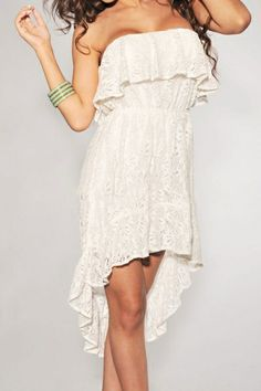 White Lace Ruffled Strapless High-Low Dress