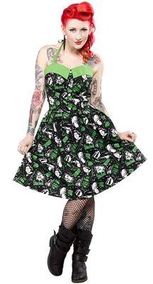 HORROR PEGGY DRESS-Cute PinUp style Horror Dress! Tattoo'd Shop www.tattoodshop.com