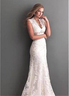 Gorgeous Tulle Sheath Queen Anne Neckline Raised Waistline Wedding Dress