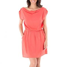 Open-Back Dress with Pockets, coral