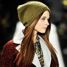 Fresh face with a blaze of bright #blue to line the #eyes, #pokerstraight #hair underneath a cute slouchy #knitted #beanie #hat at RebeccaMinkoff #NYFW #MBFW #runway #aw13 #RMFALL #beauty #latergram