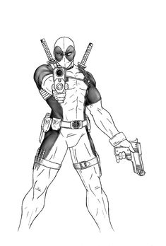 Deadpool Full Body Drawing Sketch Coloring Page Easy Butterfly Drawing, Easy Flower Drawings, Easy Disney Drawings, Pencil Drawings Of Flowers, Colorful Drawings, Easy People Drawings, Easy Doodles Drawings, Cartoon Drawings Of People, Drawing People