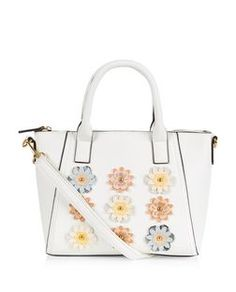 White 3D Floral Mini Tote Bag  | New Look