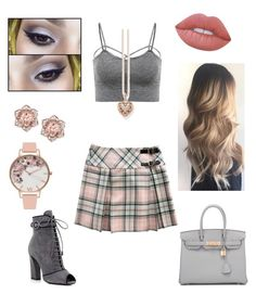 """""""Pink 'N' Grey Pleated"""" by meganmoore04 ❤ liked on Polyvore featuring Prada, Urban Decay, Olivia Burton, Thomas Sabo, Lime Crime and Hermès"""
