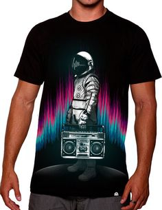 Your passion can start a movement, so crank your jams and blast your vibe to the universe with this vibrant 7-color design. #edmfashion #boombox #astronaght #rave #tee