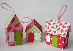 Paper House Ornament Template - Rose Cottages. €3.00, via Etsy.