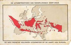Nederlands-Indië geprojecteerd op de kaart van Europa.