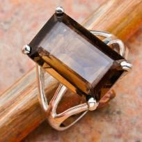 Contemporary 9 ctw Emerald Cut Smoky Topaz Ring~Solid 925 SS~Sz. 7.5~Sale Item! Hurry! $28.99