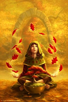 """Autumn Magic"" by Artist Laura DIEHL - LDiehl.com (fantasy art, children's illustration, fall, autumn, gold, red, magic, child, bonsai, forest)"