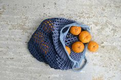 Blue crochet grocery bag  net bag eco friendly shopping bag