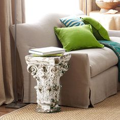 Wisteria - Furniture - Shop by Category - Accent Tables & Pedestals - Corinthian Capital Table Furniture Removal, Furniture Upholstery, Pedestal Side Table, House Inside, Corinthian, Traditional Furniture, Home Accessories, Living Room Decor, Interior Design