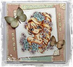 Beautifull coloring - Copics:  Haut/Skin: E13 - E11 - E00 - E00 Lippen/Lips: E93  Haare/Hair: E13 - E53 - E21 - E50  Rosen/Roses: BG72 - BG70  Blumen/Flowers: RV99 - RV 95 - RV 91  Hintergrund/Background: W1 - W0 - Blender 0