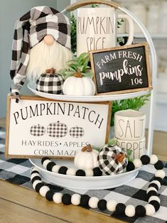 Pumpkin patch sign / signs / buffalo check / fall signs / fall decor / tiered tray signs/ rae Dunn decor / coffee bar / happy fall - Decorative Tray - Ideas of Decorative Tray - Pumpkin patch sign / signs / buffalo check / fall signs / Halloween Home Decor, Halloween House, Fall Home Decor, Autumn Home, Fall Halloween, Diy Home Decor, Halloween Entryway, Fall Entryway Decor, Country Halloween
