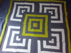 Great Tunisian crochet mitered square blanket