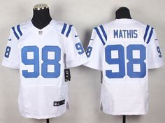 Men's NFL Indianapolis Colts #98 Robert Mathis White Elite Jersey