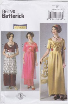 Butterick Sewing Pattern B6190 Misses' Womens Historical Costume New UNCUT by SheerWhimsyDesigns on Etsy