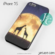giraffes romantic moon Phone case for iPhone 4/4s/5/5c/5s/6/6 plus