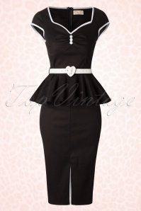 Lindy Bop Henrietta Black Peplum Heart Belt Dress 100 10 17320 20151026 0006W