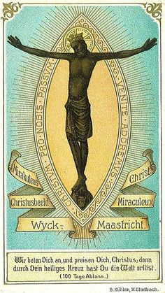 Lithography of the miraculous black Christ of Wyck in Maastricht, the Netherlands. Prentje van de Zwarte Christus in de Sint Martinuskerk in Wyck, Maastricht. Early Christian, Christian Art, Black History Books, Art History, Religious Icons, Religious Art, Pictures Of Christ, Black Jesus, Wolf