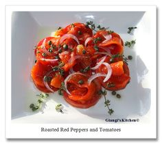 A simple Roasted Red Peppers and Tomatoes Salad from @Giangi Tassin Townsend from Giangi's Kitchen can be easily made with an #OXO Hand-Held Mandoline. #SideofOXO