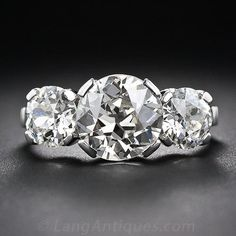 4.35 Carat Total Weight Vintage Diamond Three-Stone Ring - Vintage Engagement Rings